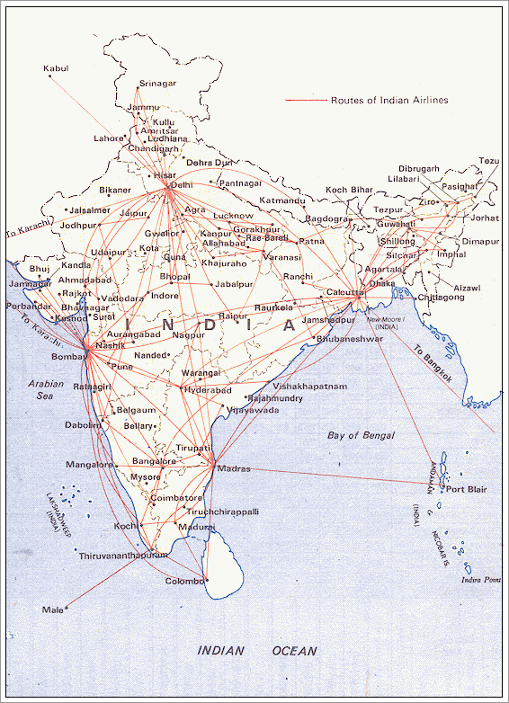 vliegroutes indian airlines